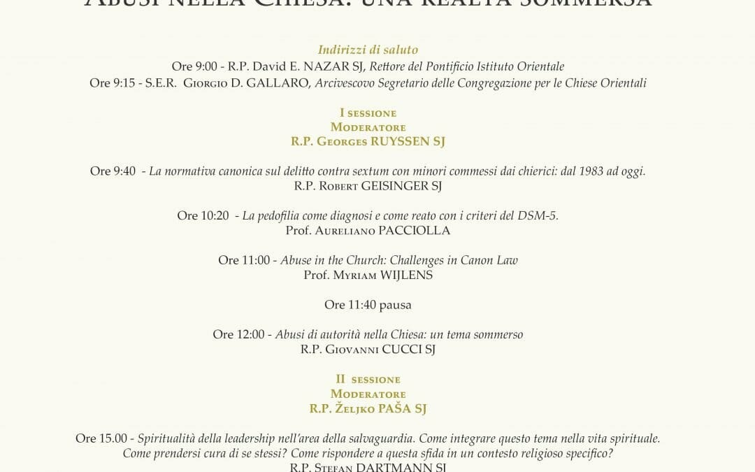 """Pontifical Oriental Institute Hosts Expert Seminar: Abuse within the Church, """"A Submerged Reality"""""""
