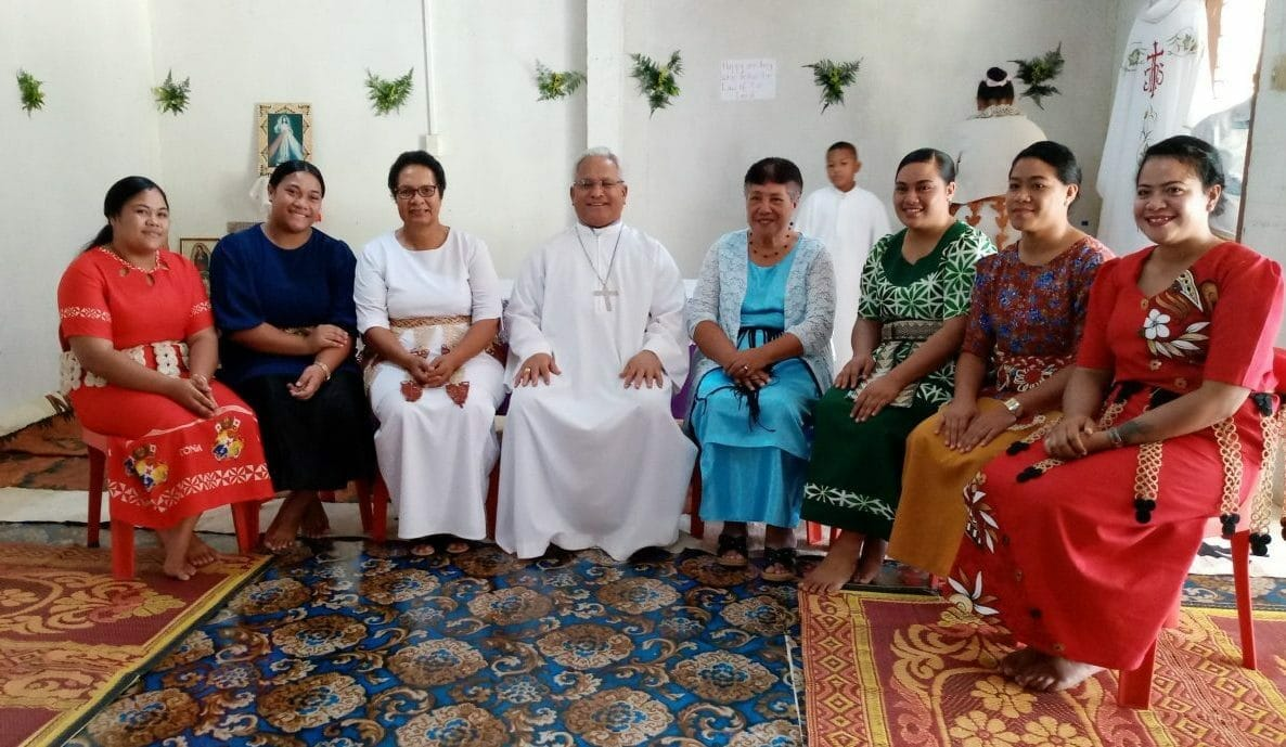 Commission member Sinelelea Fe'Ao together with Cardinal Mafi and team at opening of Life Formation program for girls and women victims of violence and abuse.